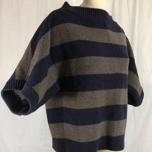 Tory Burch Blue/Grey Striped Wool Pullover XL